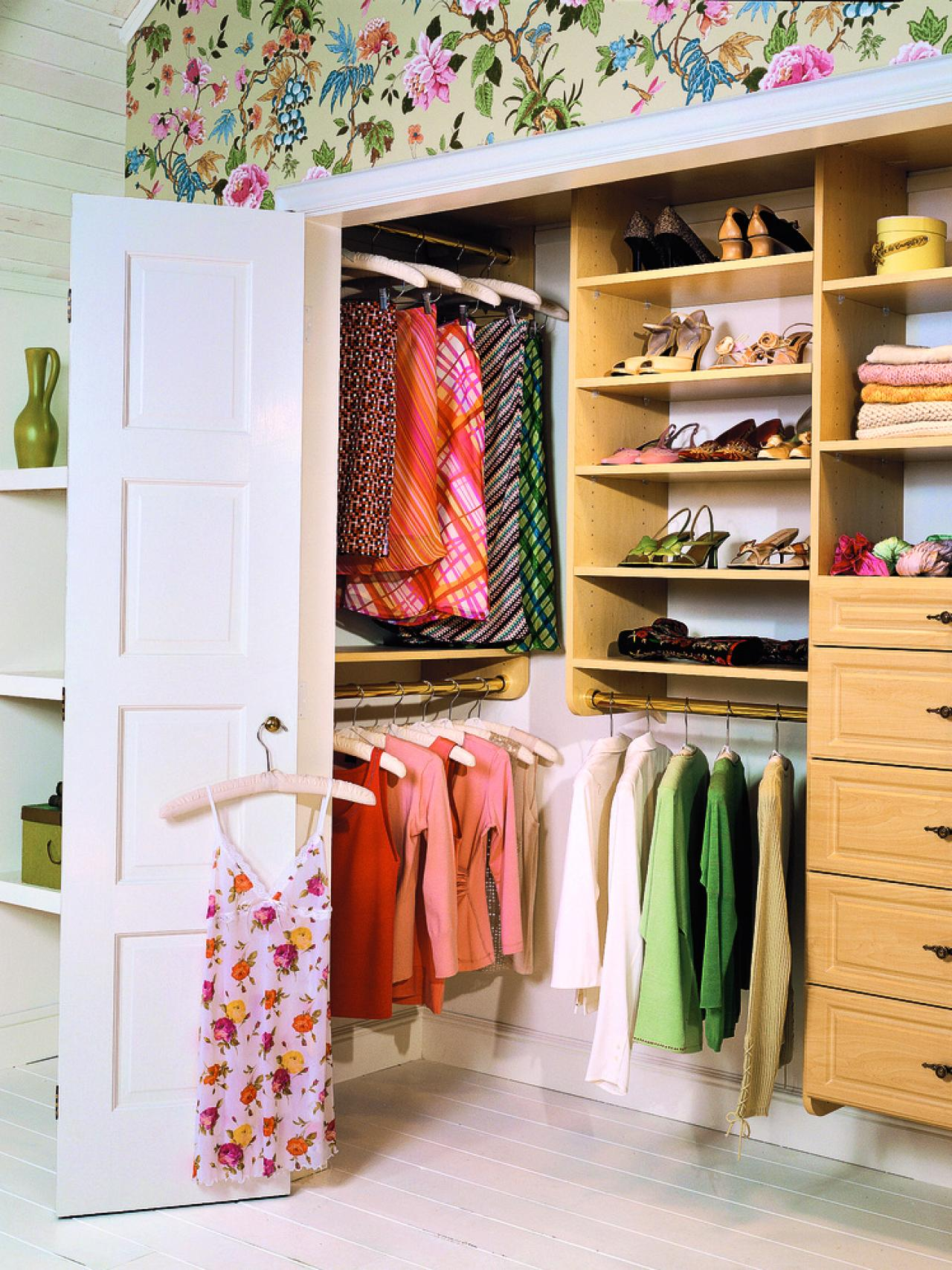 Amazing Design Of The Small Closet Design With Brown Wooden Shelves Added  With White Wall And Pictures Gallery