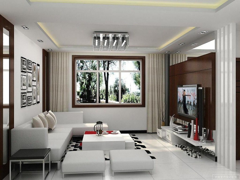 Amazing Design Of The Small Living Room With Whit Floor Added With L Shape White Sofa And Black And White Rugs