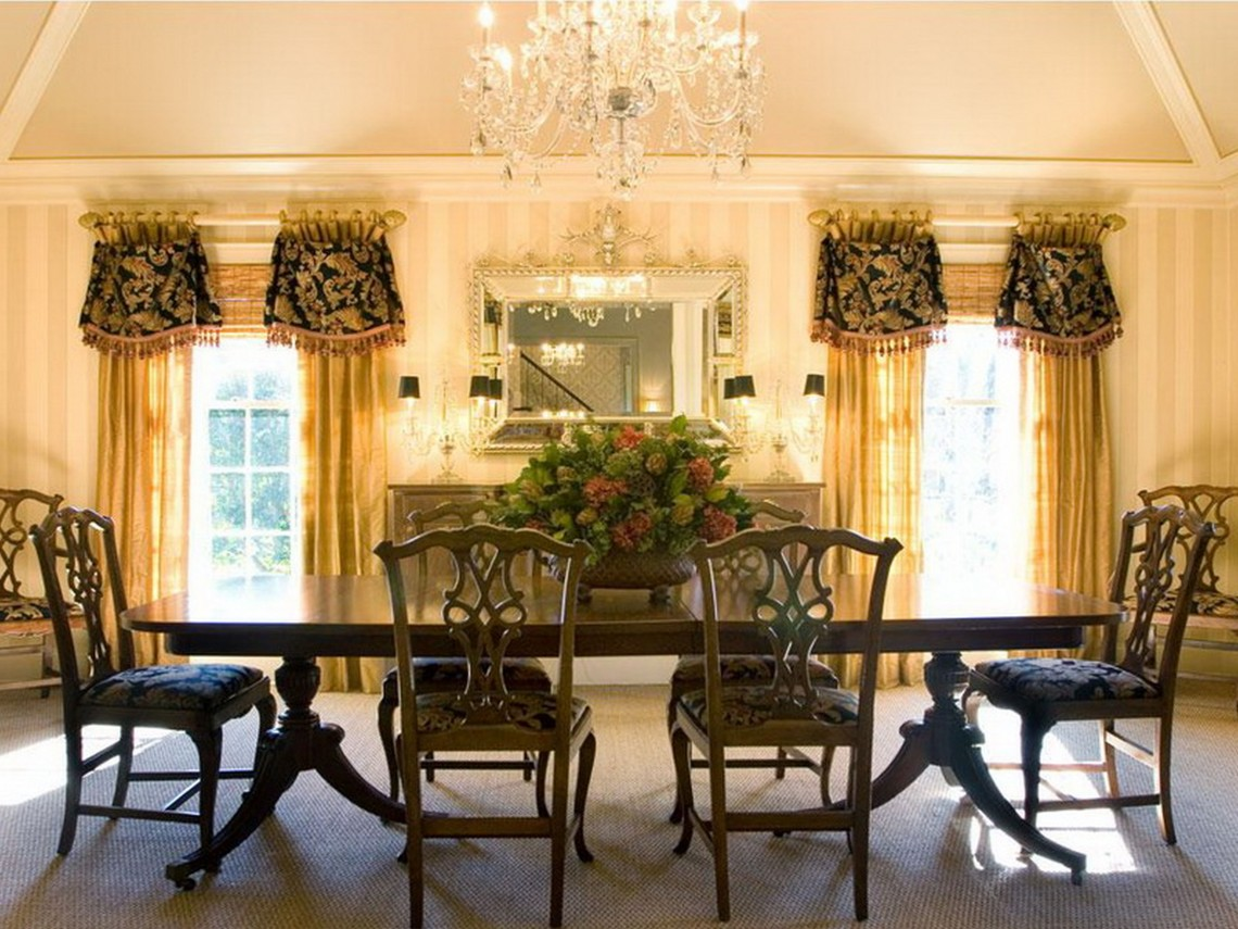 Amazing Dining Room With Table Set also Flowers Plus Lush Window Treatments Ideas