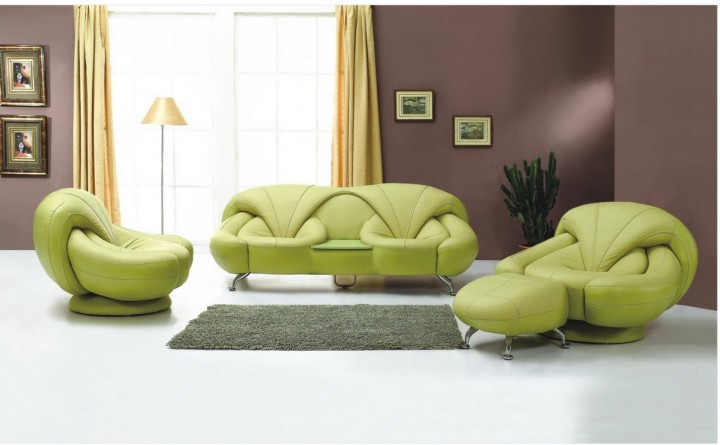 Amazing Living Area With Green Velvet Sofa And Ottoman Plus Floor Lamp