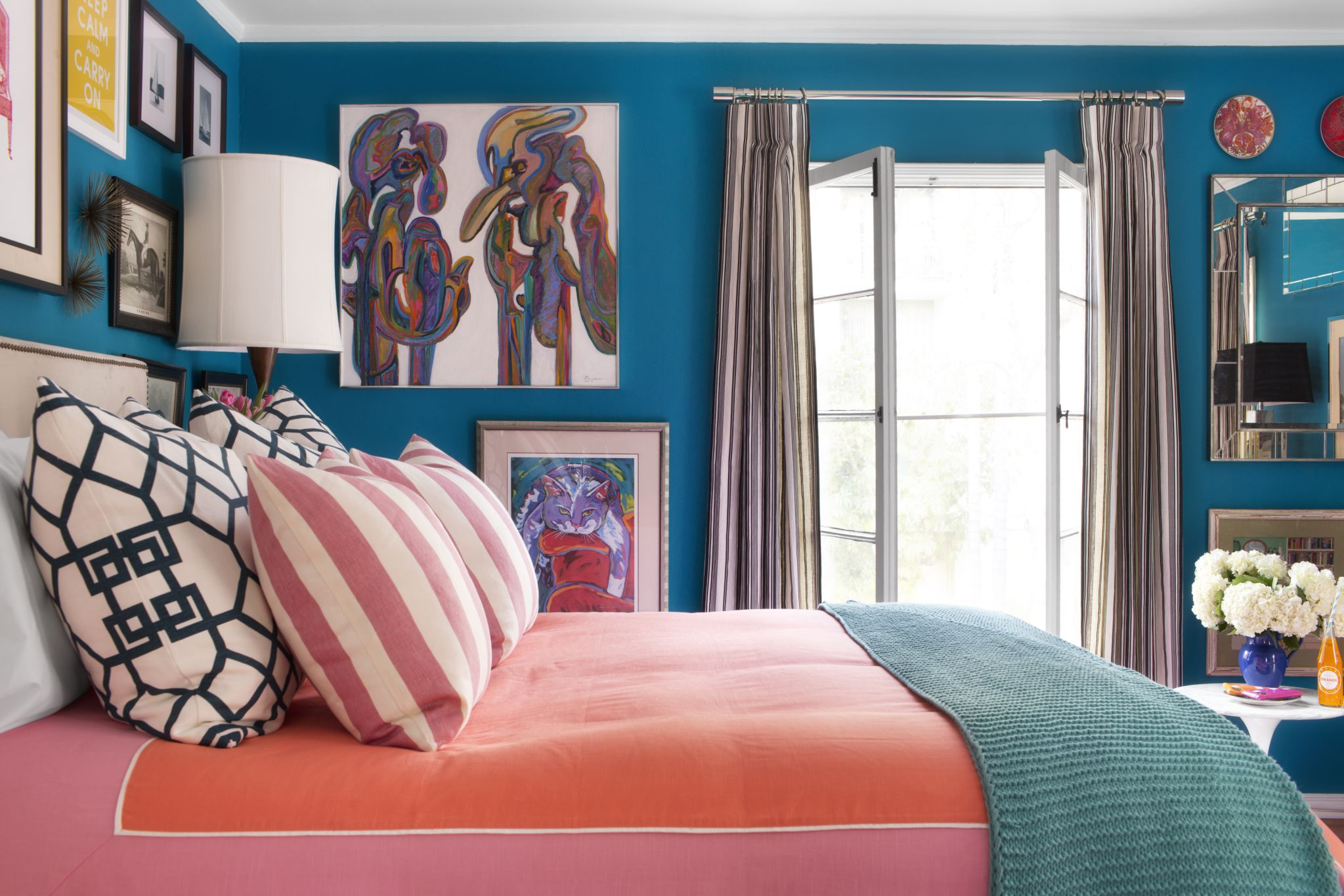 Amazing Painting on Blue Wall Paint Plus Comfortable Bed Style