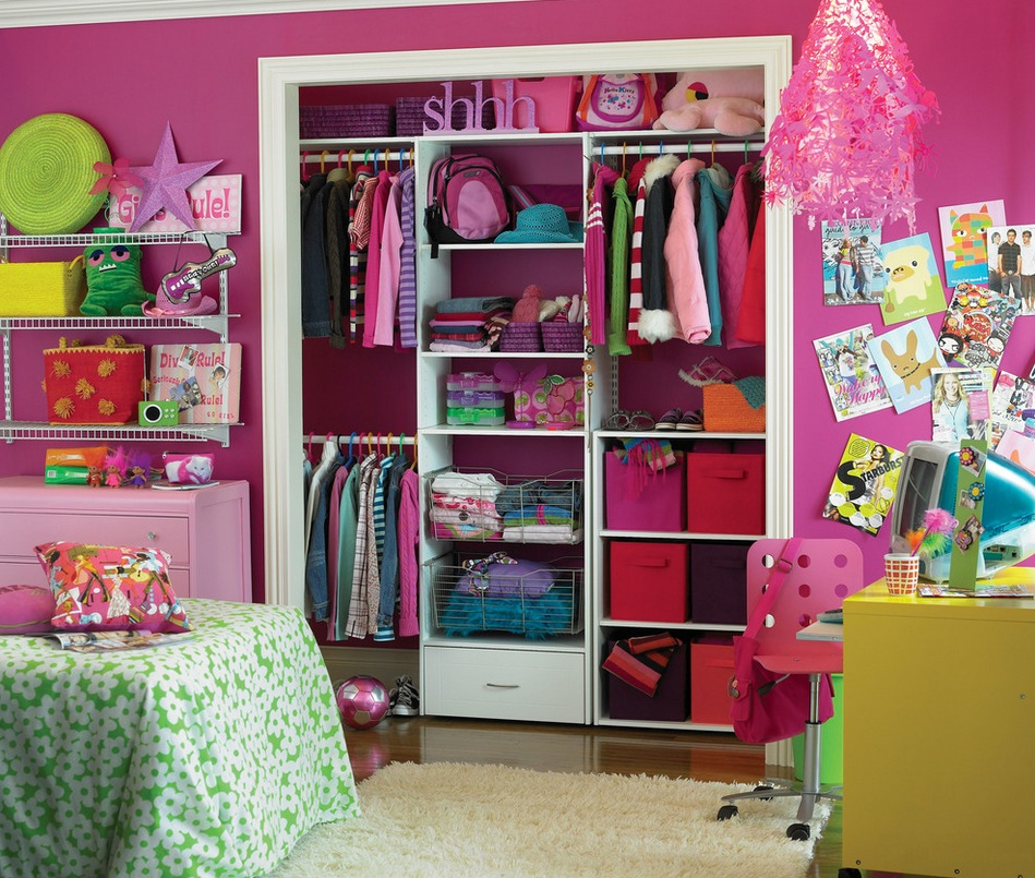 Amazing Play Area For Kids With Simple Closet Beside Wall Shelve and Study Table