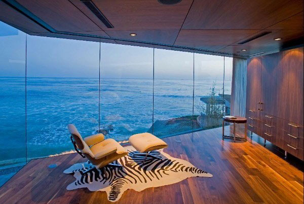 Amazing Room Decor With Spacious Visible Glass Windows also Lounge Chair