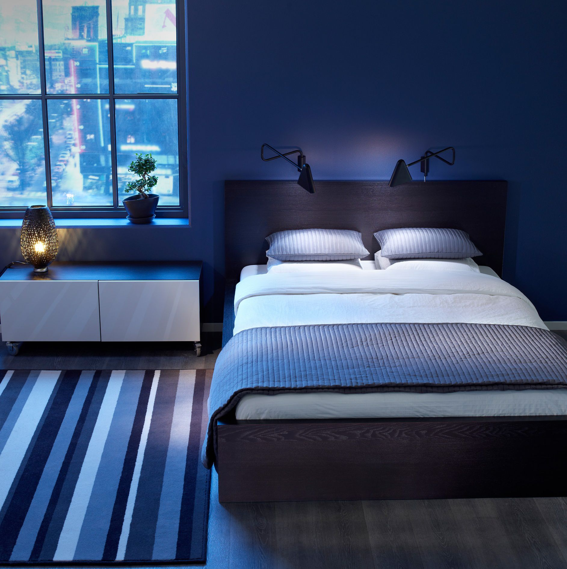 Amusing Design Of The Bedroom Paint Color Ideas With Blue Rugs And Blue Wall Ideas Added With Blue Lights Ideas