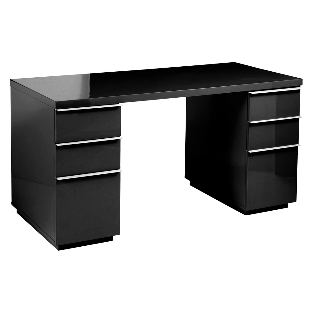 Amusing Design Of The Black Desk With Drawers With Shiny Wooden Top Desk  Added With Silver