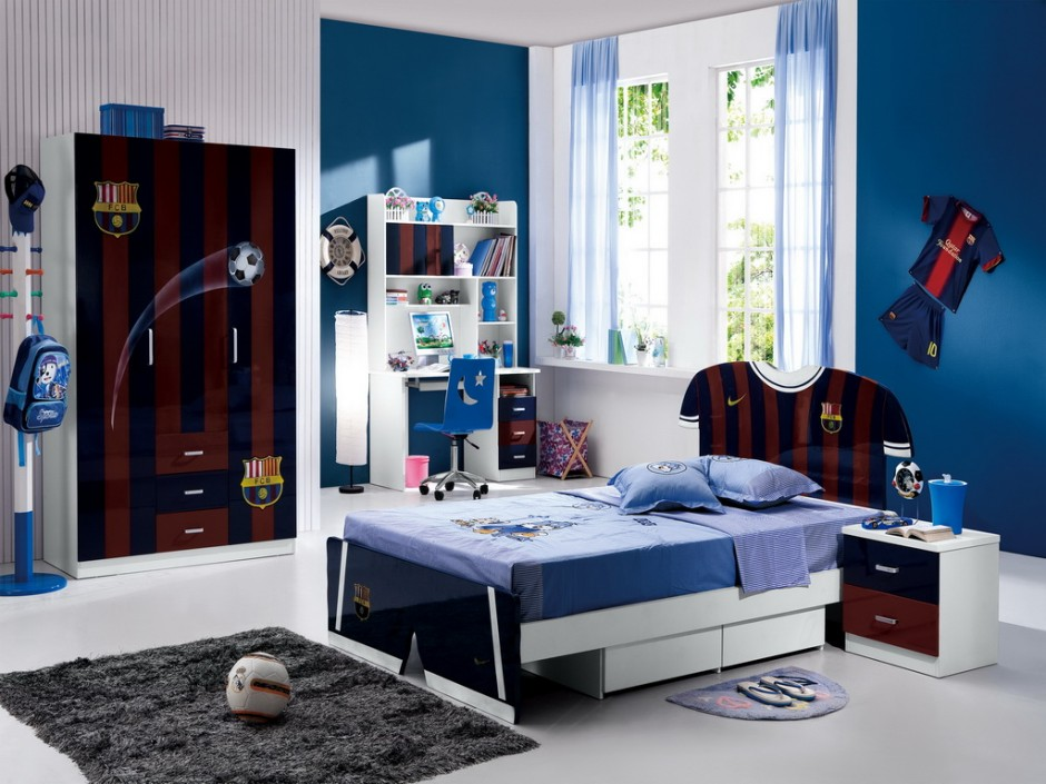 Amusing Design Of The Boy Bedroom Ideas With White Floor Ideas Added With  Blue Wall And