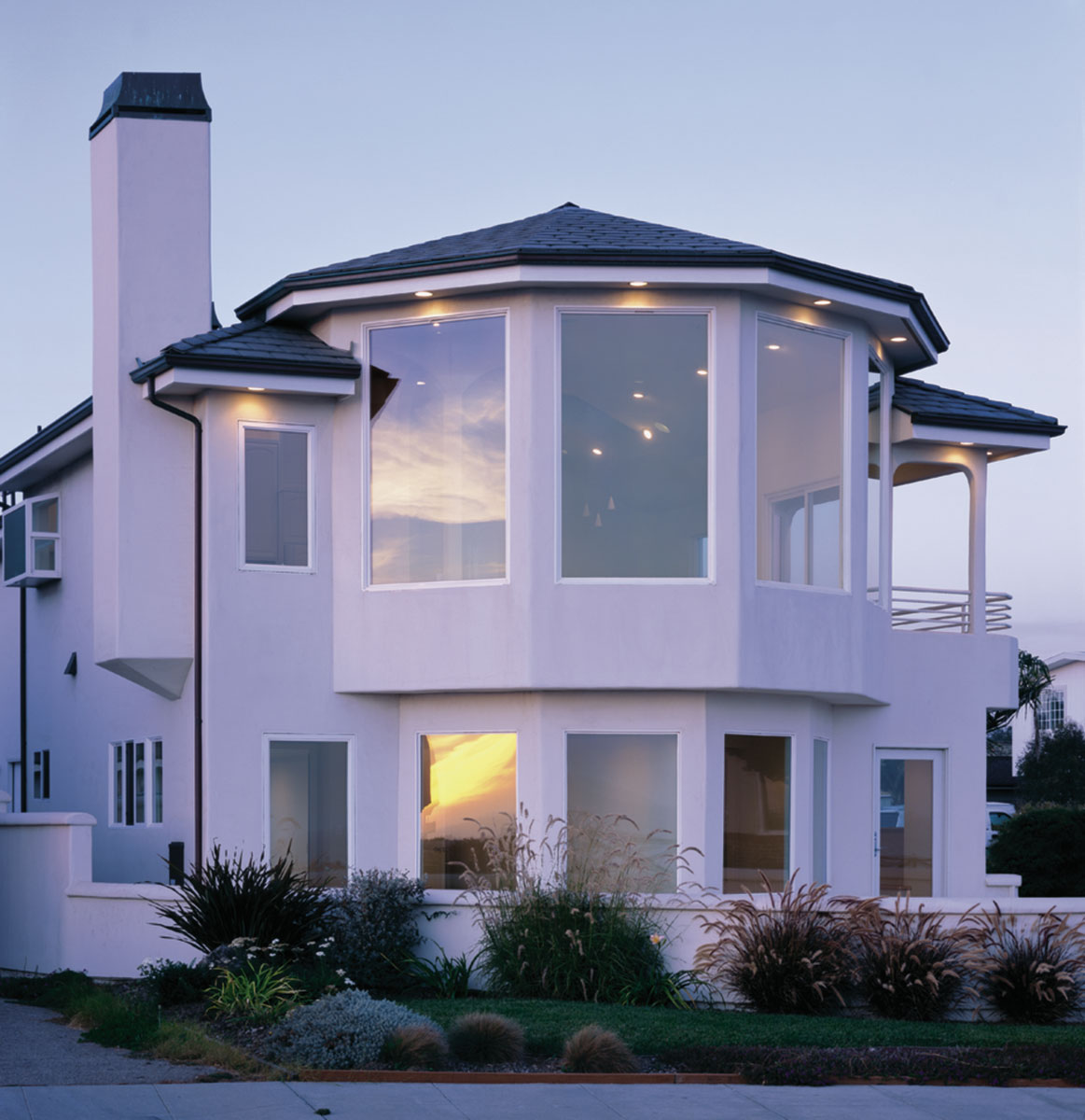 Amusing Design Of The Exterior Home Design Styles With White Wall Color Ideas Added With Big Glass Windows Ideas