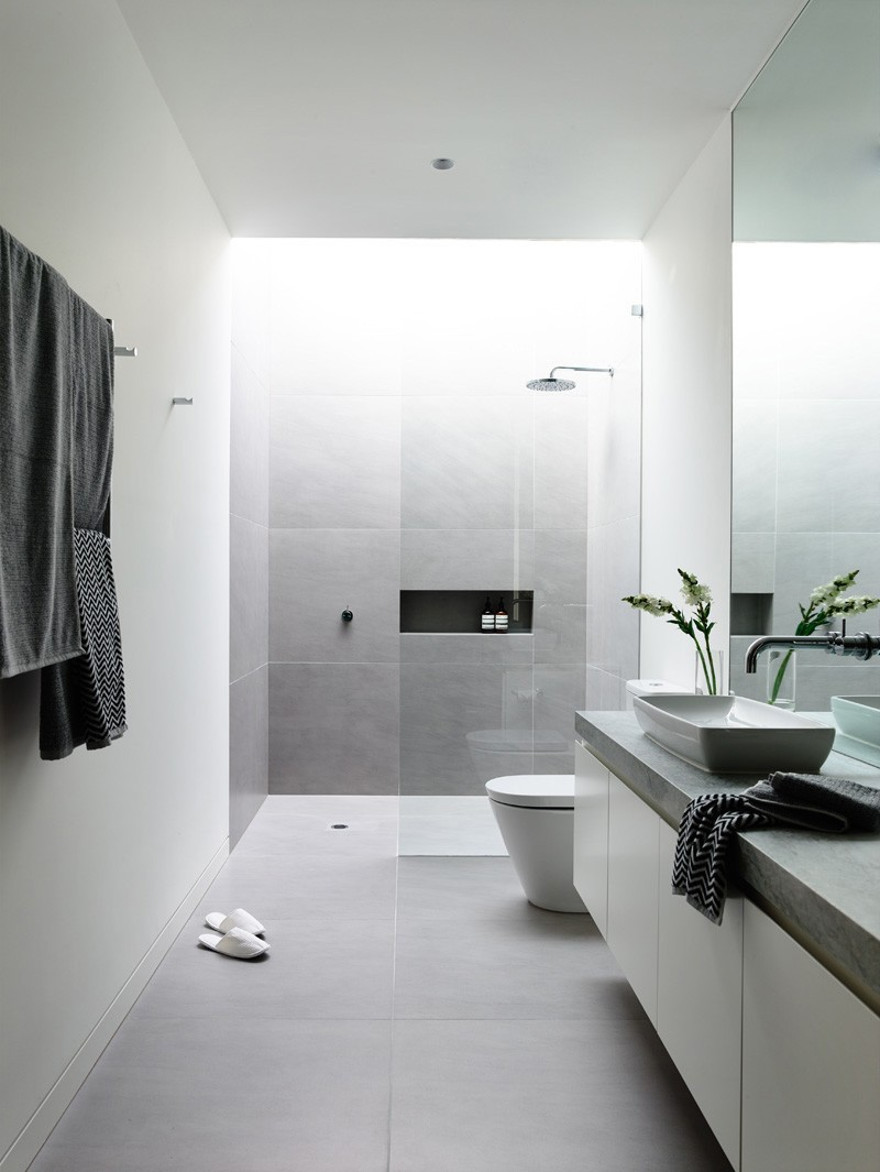 Amusing Design Of The Gray And White Bathroom With Grey Floor And White Wall Ideas Added With White Cabinets