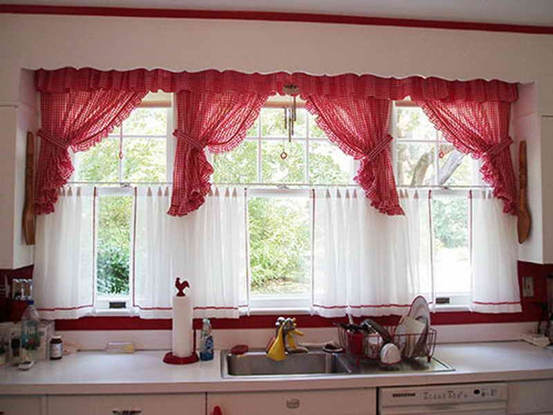 Amusing Design Of The Kitchen Curtains Ideas With White Wooden Glass Windows Added With Red Curtain Ideas