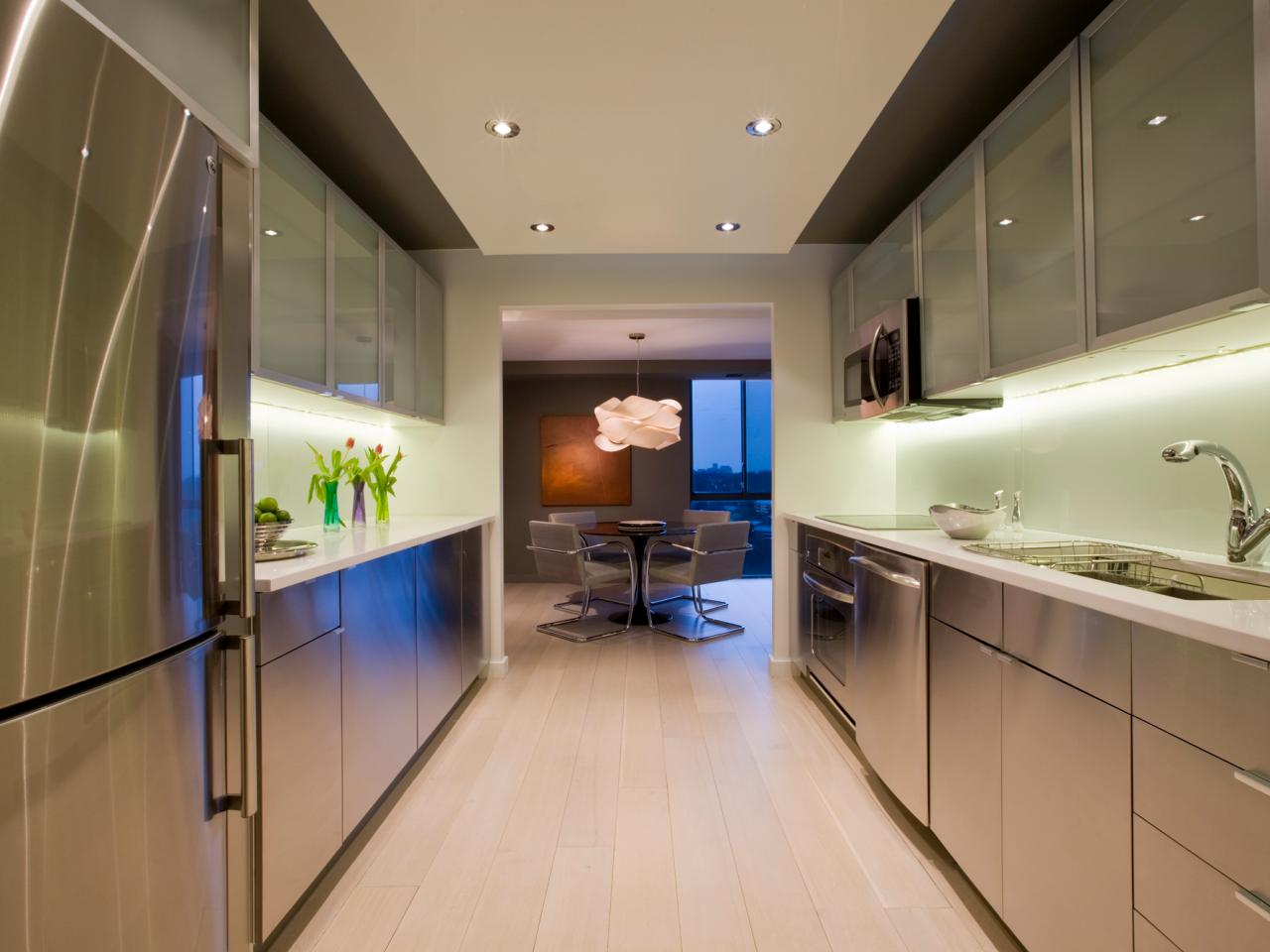 Amusing Design Of The Kitchen Layout Design With Silver Stainless Steel Cabinets And Vanities Added With Green Wall Ideas