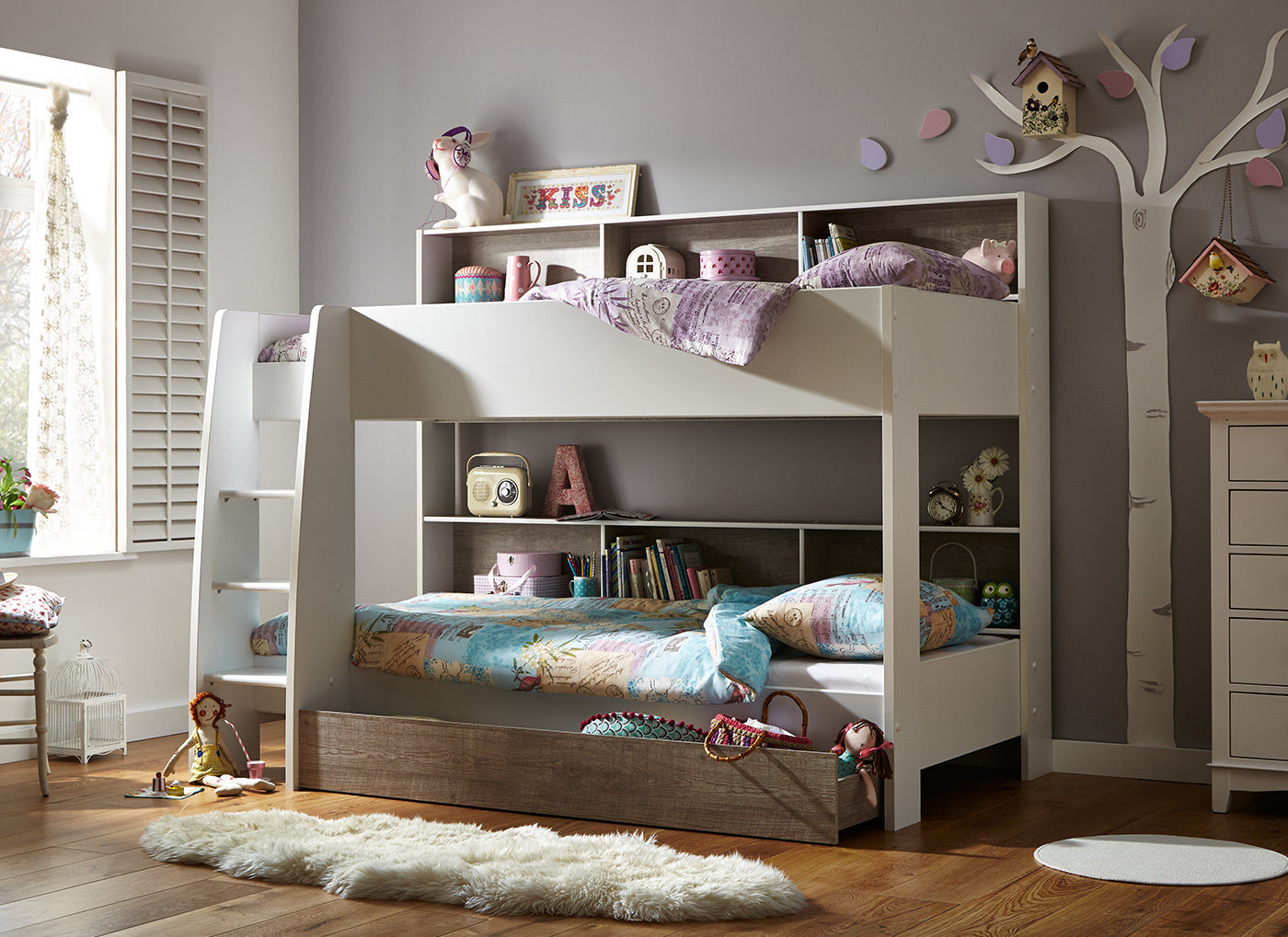 Amusing Design Of The Loft Bed With Storage With Brown Wooden Floor Added With Grey Bed Added With White Rugs Ideas