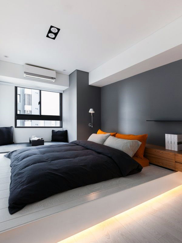 Amusing Design Of The Men Bedroom With Grey Wall Added With Grey Bed Cover  Ideas Added