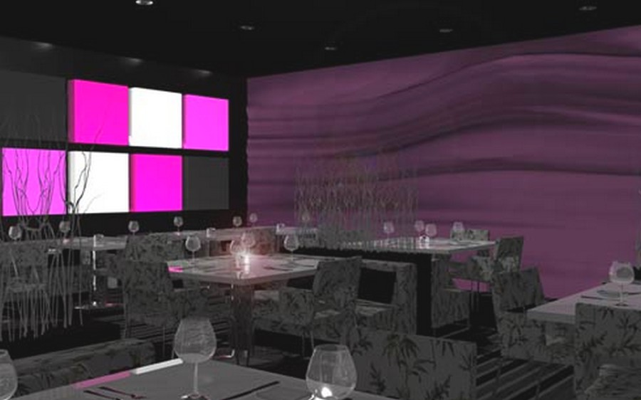 Amusing Design Of The Purple Cafe At Seattle With Purple Wall Added With Purple And White Mounted Lamp Ideas