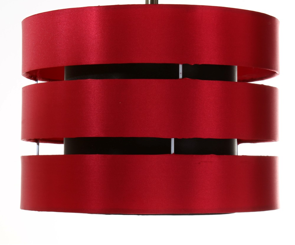 Amusing Design Of The Red Pendant Lamp With Red Silk Color Materials Lamp Added With Black At The Inside Of The Lamp