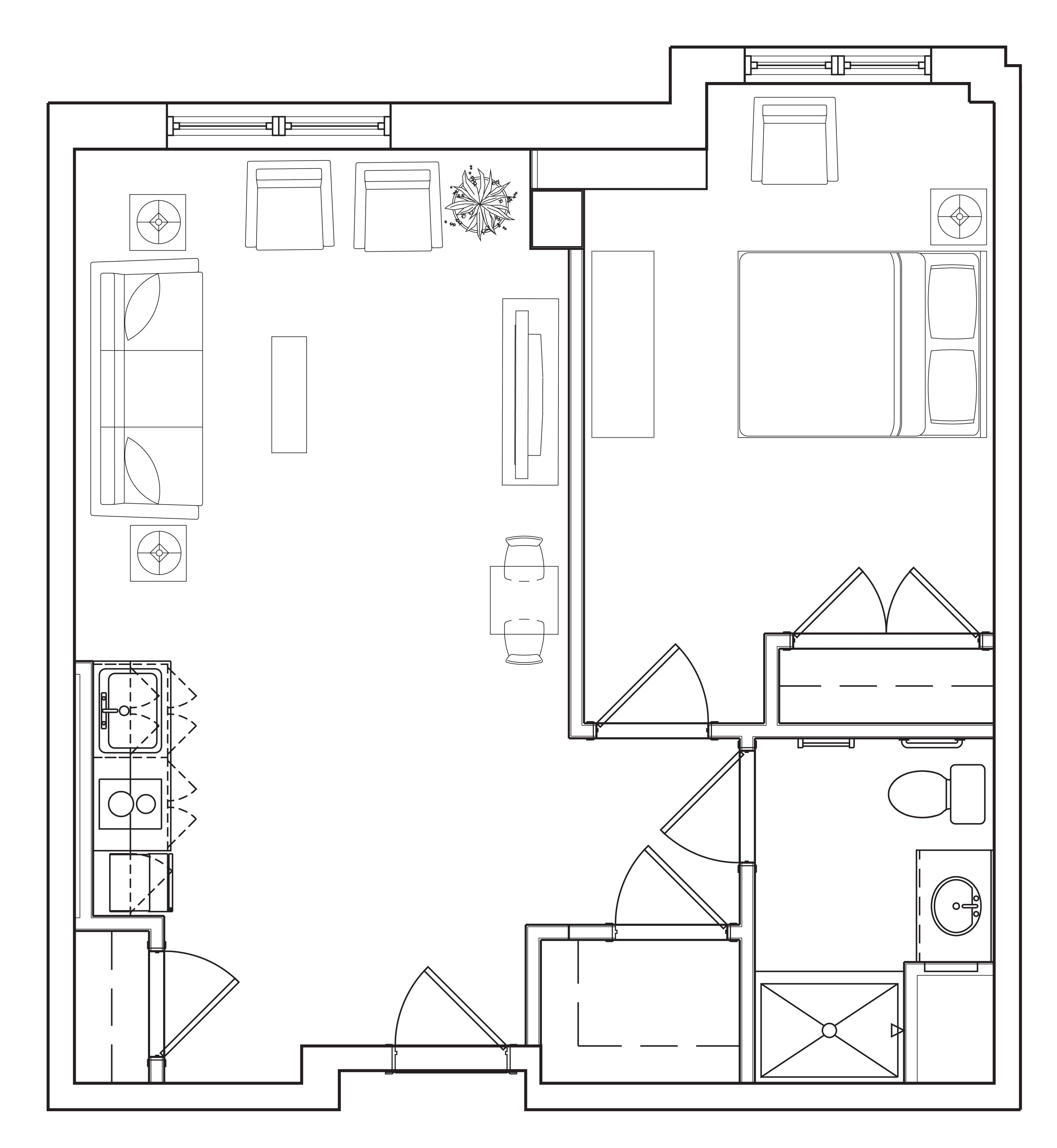Amusing Design Of The Simple Floor Plans With Single Bedroom Added With Living Room Beside The Kitchen Areas