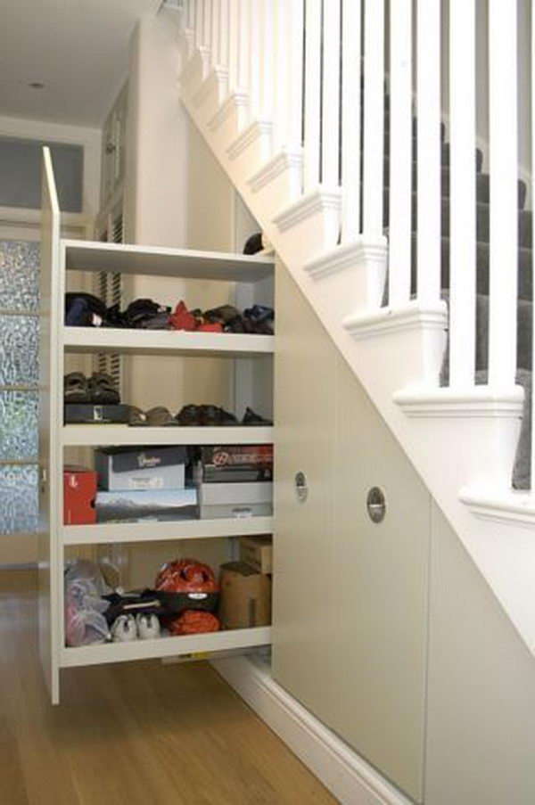 Amusing Design Of The Storage Under The Stairs With Hidden Storage Added With White Railing Ideas With Shelves Ideas