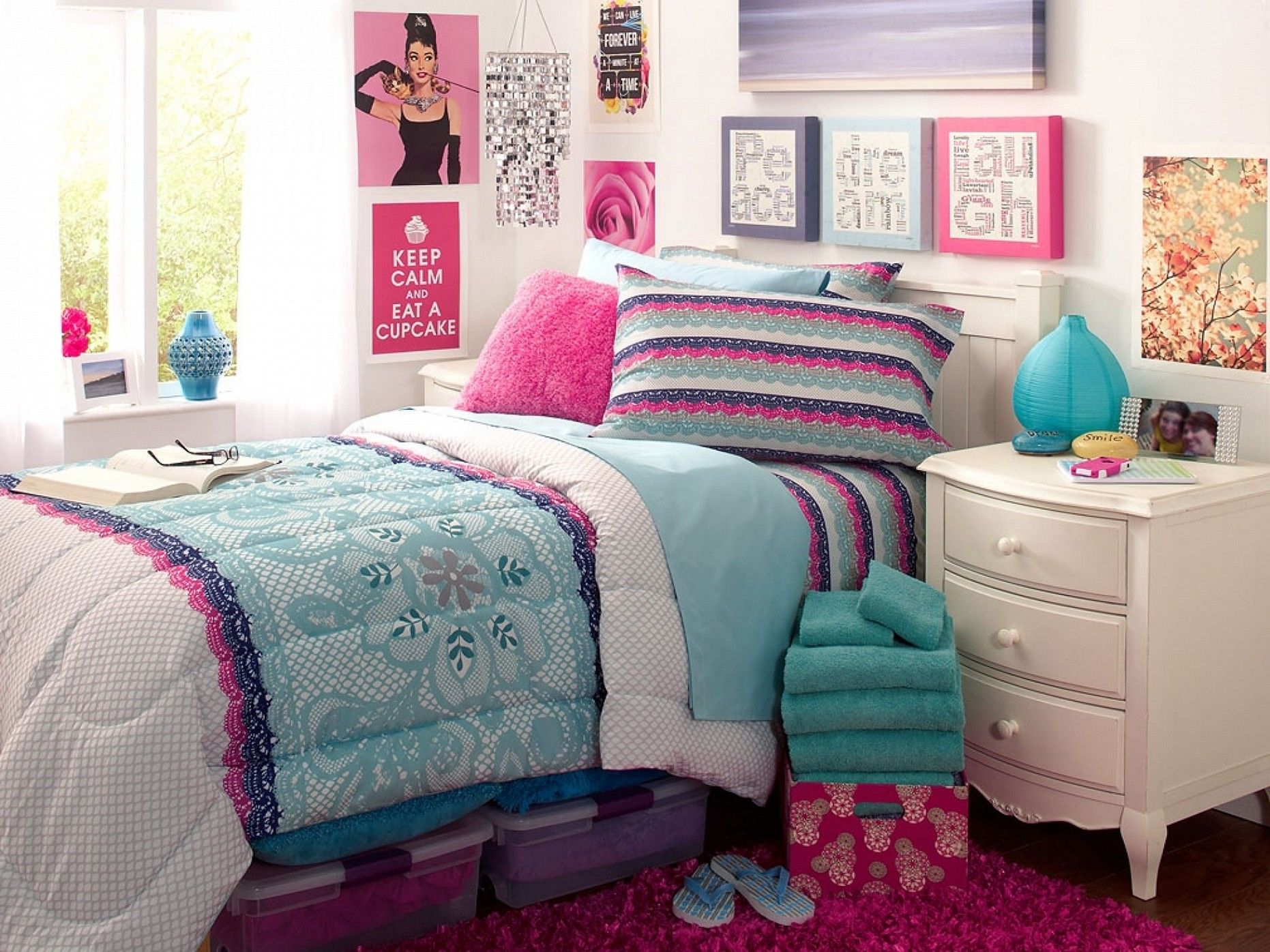 Amusing Design Of The Teenage Room Decor With White Wooden Cabinets Added With White Wall And Some Pics On The Wall Ideas