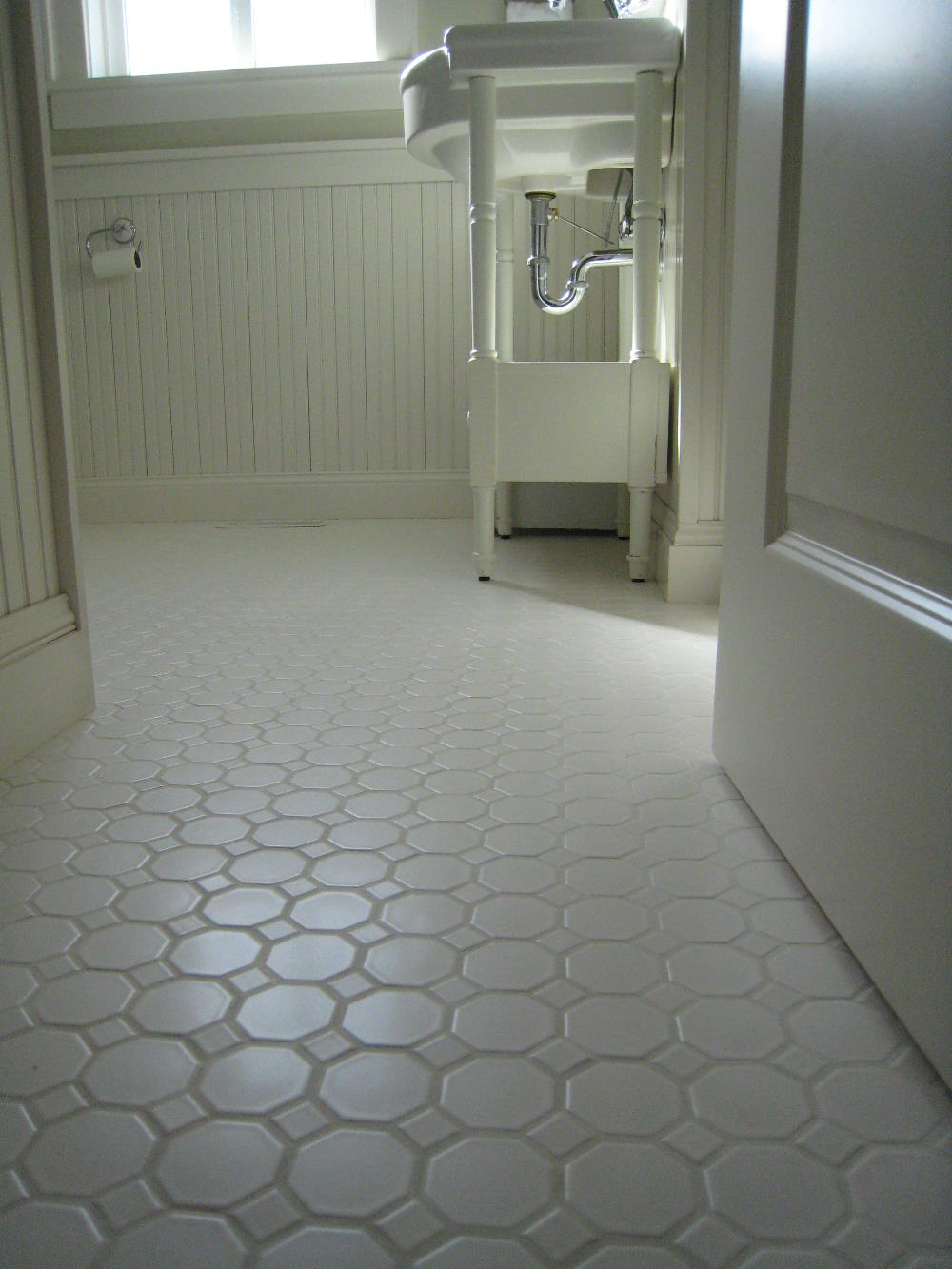 Angelic Bathroom Decoration Idea Using White Tile Flooring also Sink