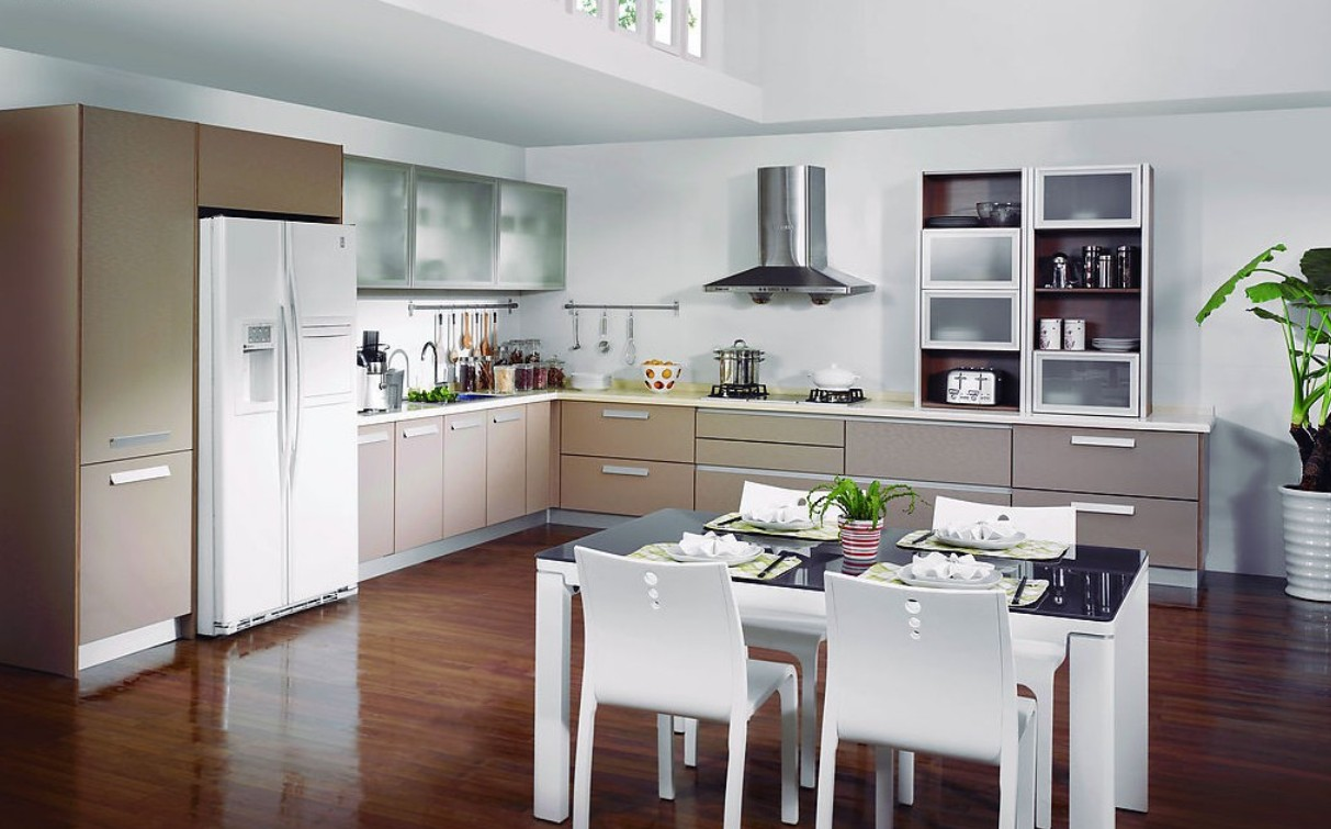 Angelic Dining Marble Kitchen Table also White Chairs plus Refrigerator