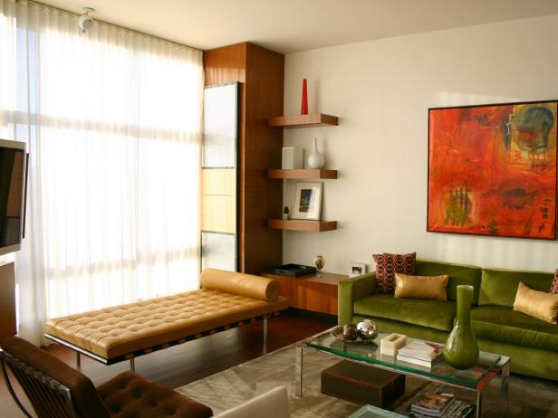 Angelic Living Room Using Mounted Shelve Also Neat Green Sofa