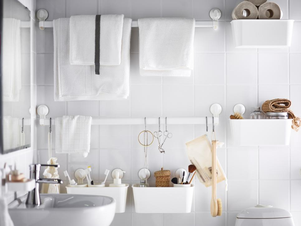 Appealing Bathroom Using Small Storage For Saving Toiletries Under Towel Hook