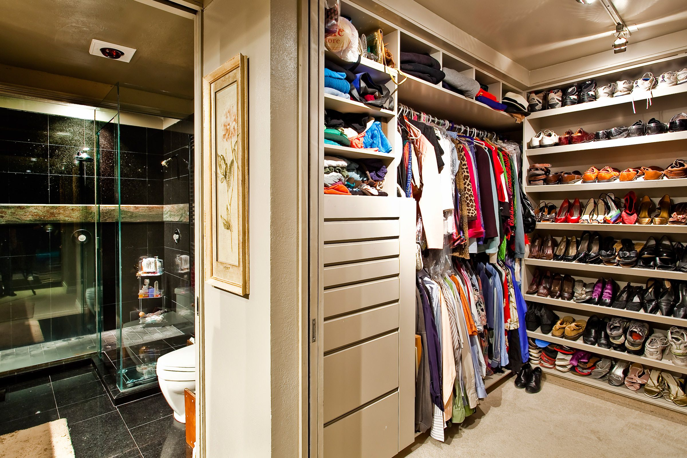 appealing shoes racks also hanging clothes to decorate small closet design ideas - Closet Bathroom Design