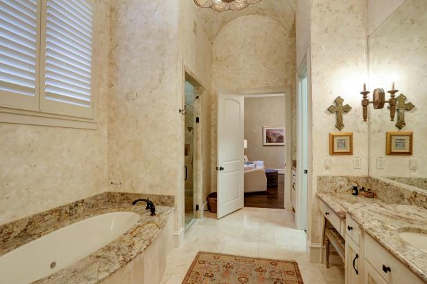 Astonishing Bathroom With Marble Wall Also Cabinet Using Granite Top