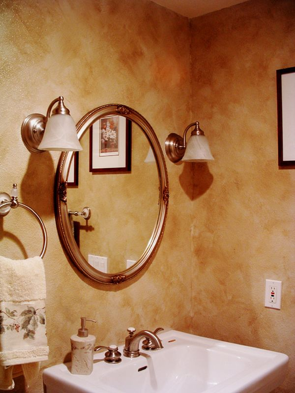 Astonishing Bathroom With Wall Faux Painting Techniques also Oval MIrror
