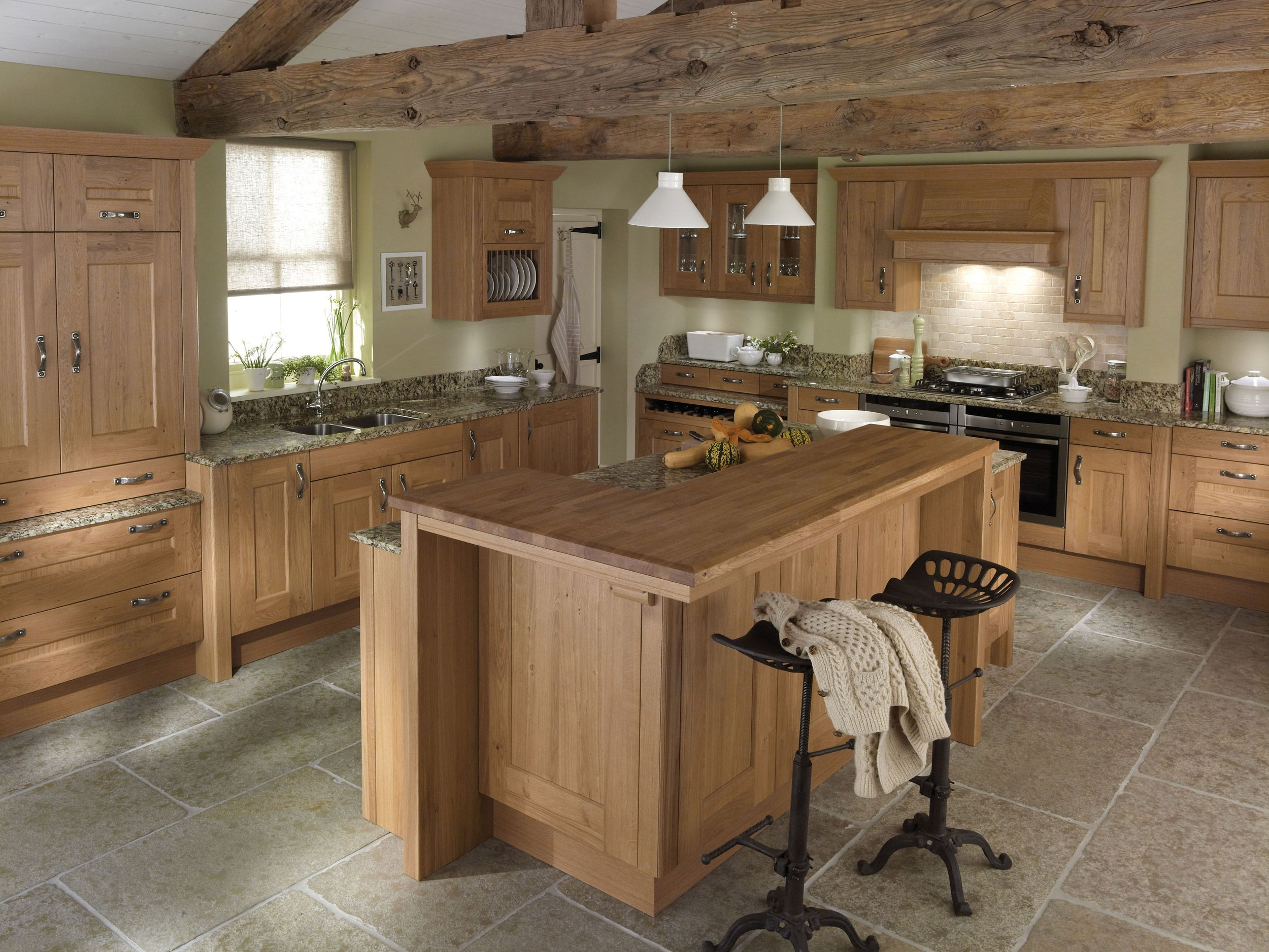 Astonishing Country Style Kitchen With Wooden Cabinet And Dark Stools