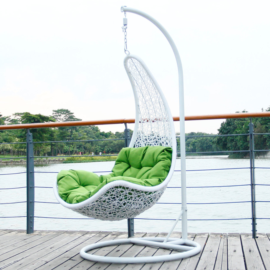 Astonishing Deck With Hanging Rattan Chair Using Green Velvet Sofa