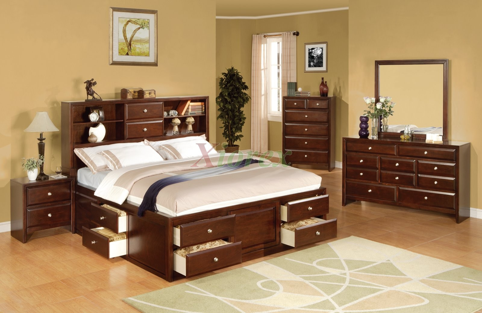 Astonishing Design Of The Bedroom Storage Furniture With Brown Wooden Frame Bed Ideas With Brown Wooden Cabinets With Grey Rugs