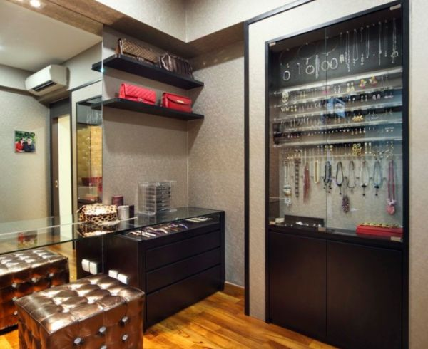 Astonishing Design Of The Closet Ideas With Brown Wooden Floor Added With Black Wooden Shelves Ideas