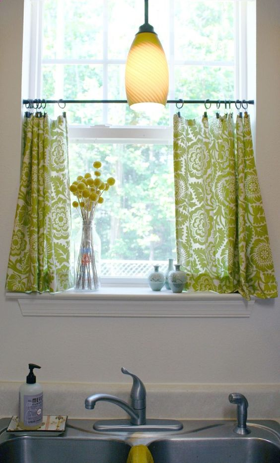 Astonishing Design Of The Kitchen Curtains Ideas With White Wal And Green Curtain Ideas With Pendant Lamp