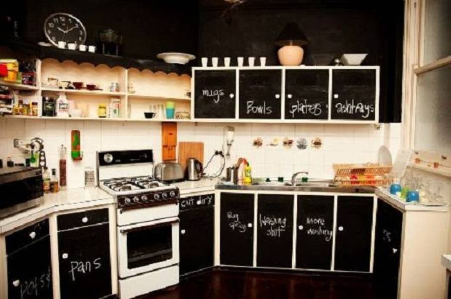 Astonishing Design Of The Kitchen Decorating Themes With Black Cabinets  Ideas Added With White Wall And