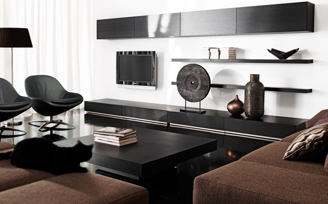 Astonishing Design Of The Living Room Arrangements With Brown Fabric Color Materials Added With Black Wooden Tv Place And White Wall Ideas