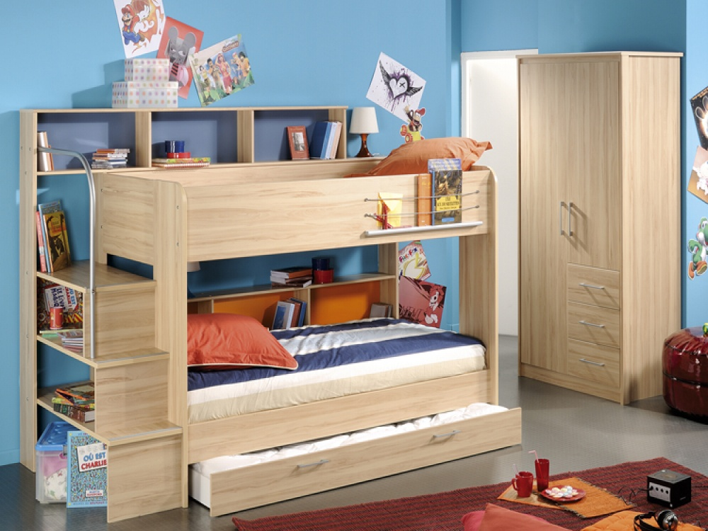 Astonishing Design Of The Loft Bed With Storage With Brown Wooden Color Bed Added With Blue Wall And Red Rugs Ideas With Grey Floor