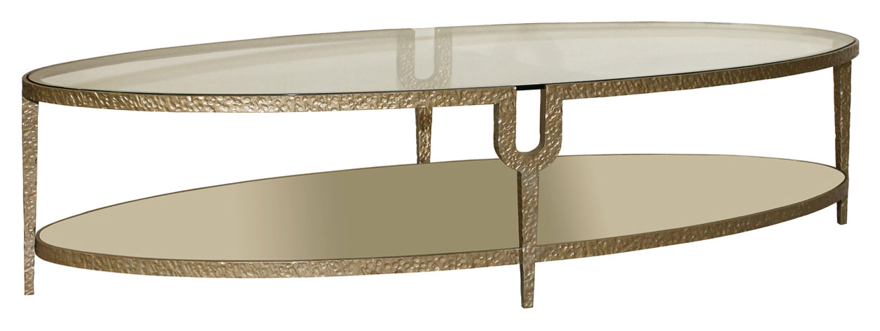 Astonishing Design Of The Oval Glass Coffe Table With Bronze Color Ideas Added With Single Shelf Ideas