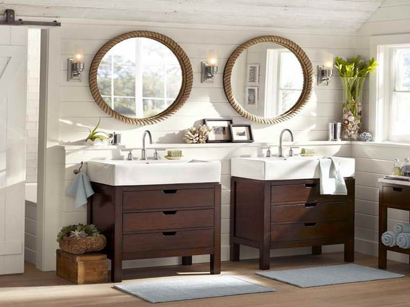 Astonishing Design Of The Pedestal Sink Cabinet With Brown Wooden Cabinets  Added With Two White Marble