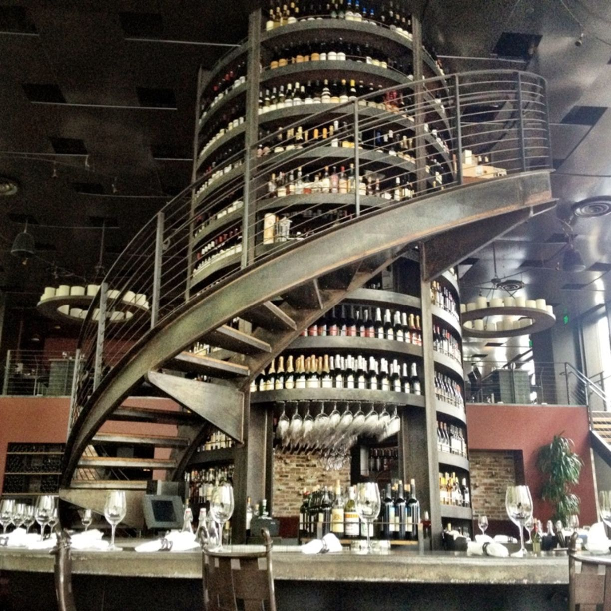 Astonishing Design Of The Purple Cafe At Seattle Withhuge Storage For So Many Wine In The World