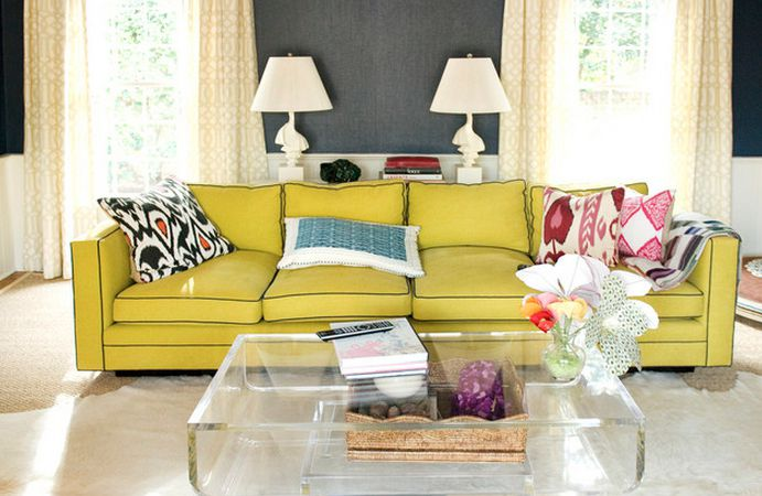 Astonishing Glass Coffee Table and Yellow Sectionals For Small Spaces