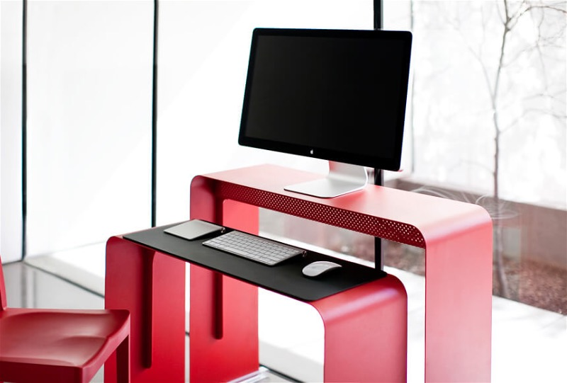 Astonishing Style Of Two Red Small Tables Design For Computer