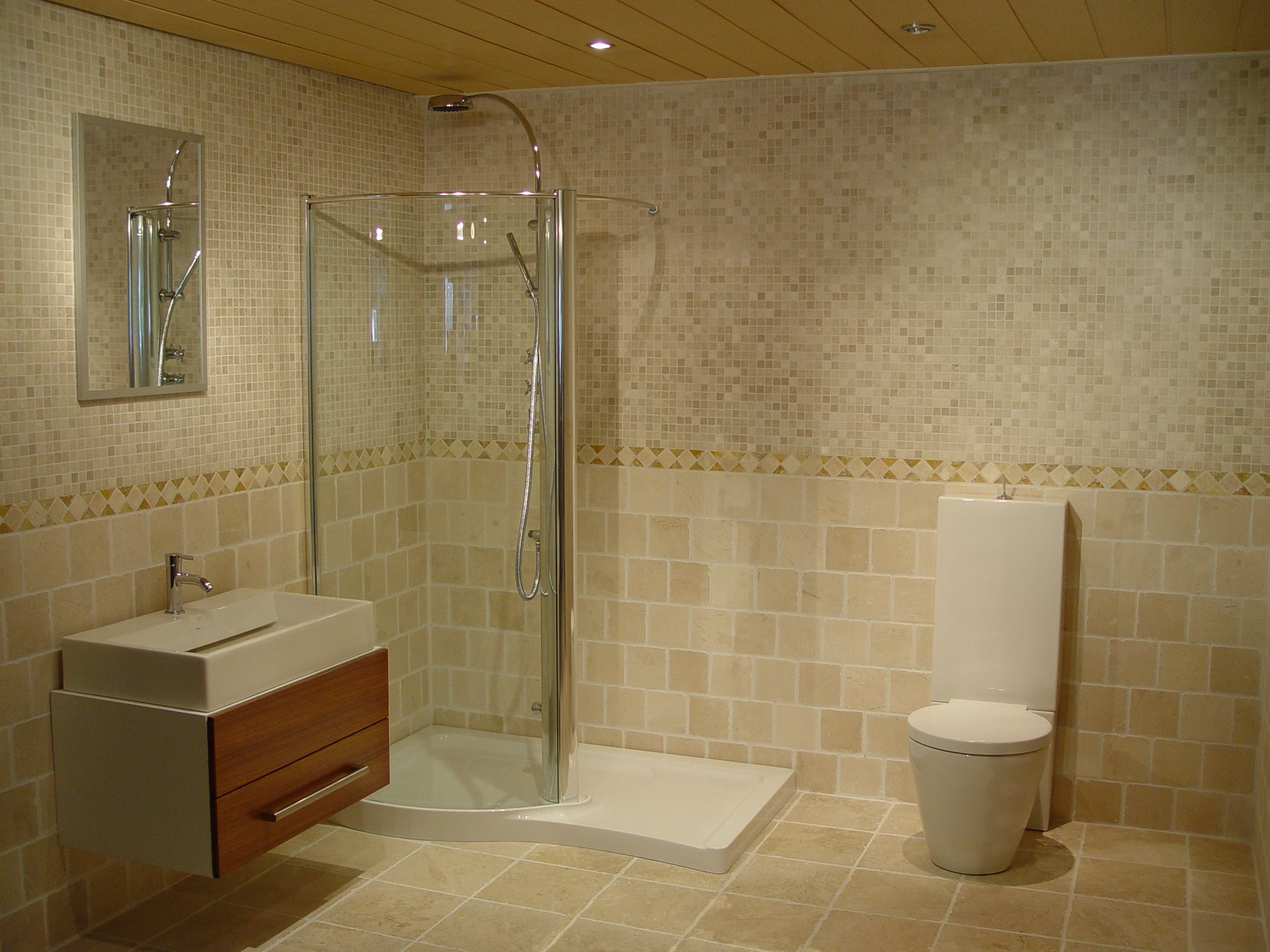 Astonishing Vanity BesideVisible Showering Area Also Lush Bathroom Tile  Designs
