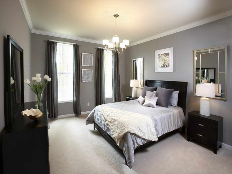 Astounding Design Of The Bedroom Table Lamps With Black Wooden Side Table And White Lamp Ideas With Grey Wall Ideas