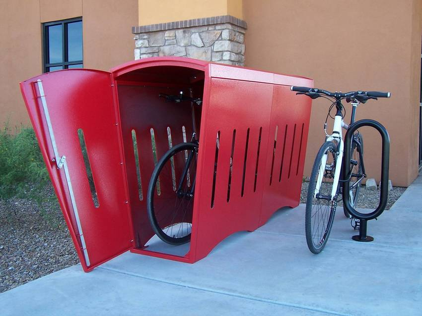 Astounding Design Of The Bike Storage Outdoor With Red Color Ideas Put At Hte Grey Floor Tile Ideas