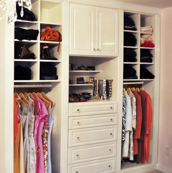 Astounding Design Of The Closet Ideas With White Cabinets Added With Whit Shelves Ideas Added With Hanger For Clothes Ideas