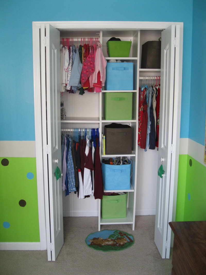Astounding Design Of The Closet Organizers Ideas With White Shelves And Grey Floor Ideas Added With Blue And Green Wall Ideas