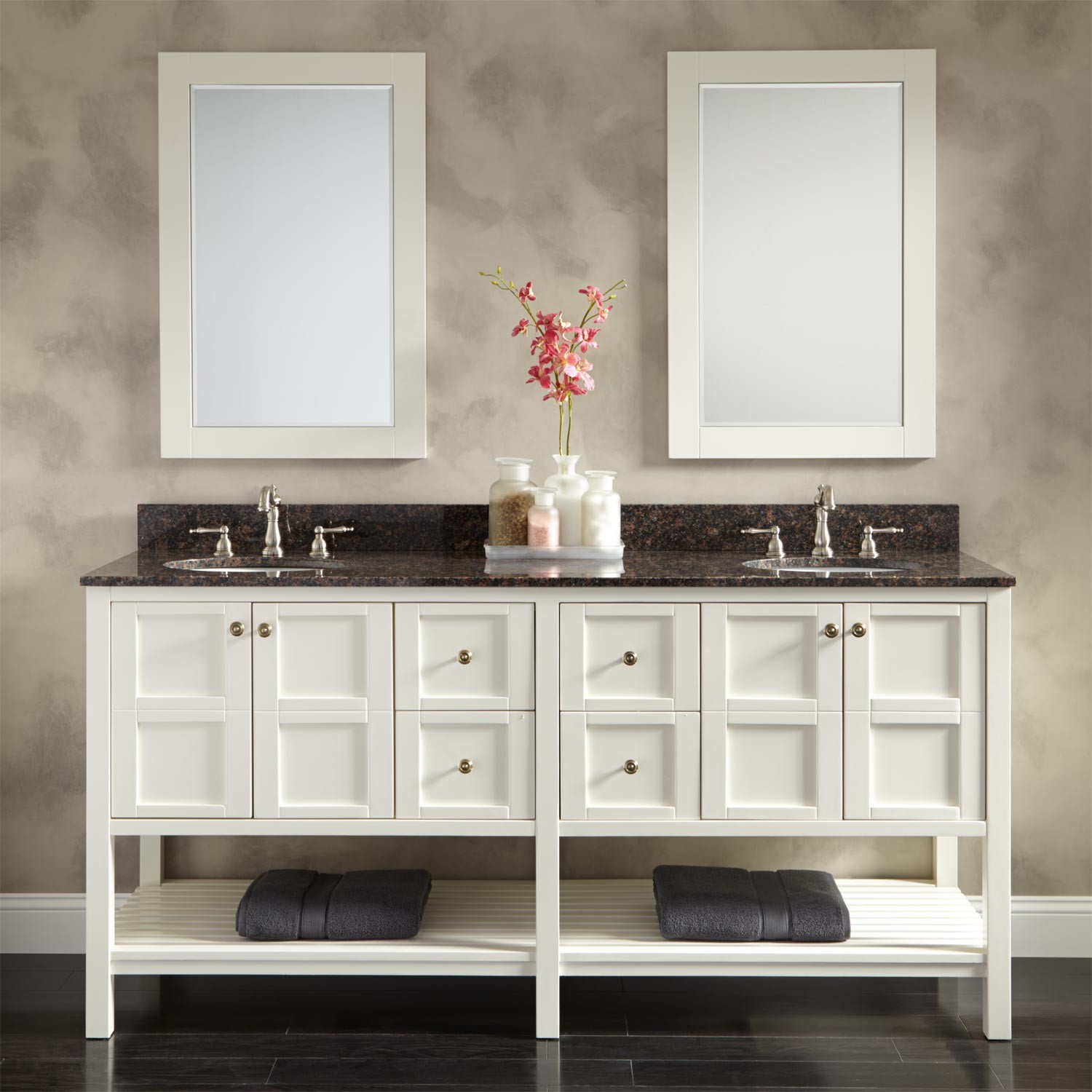 Astounding Design Of The Contemporary Bathroom Vanities With White Cabinets With Double Black Sink And Shelves For Towel Ideas