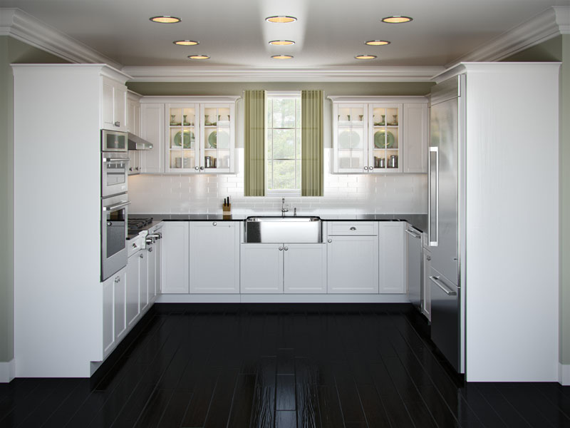 Astounding Design Of The Kitchen Areas With Black Wooden Floor Ideas Added With White Cabinets And White Wall Ideas