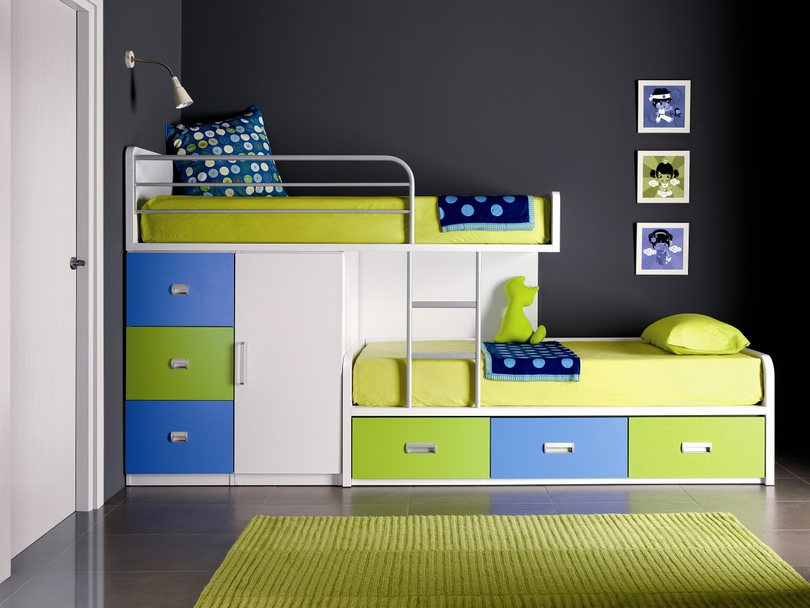 Astounding Design Of The Loft Bed With Storage With Green And Blue Drawers Added With Black Wall And White Wall Ideas