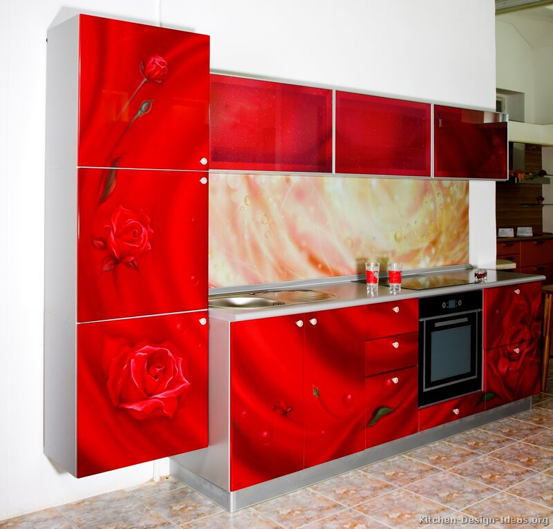 Astounding Design Of The Red Kitchen Cabinets With Red Floral Motive Cabinets And Beige Backsplash Ideas And White Wall Ideas